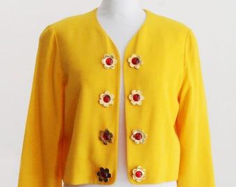 Very rare MOSCHINO Cheap and Chic yellow flower cropped blazer.