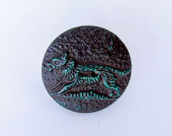 Vintage Celluloid Button, One Piece Sew Thru, Wolf, NBS Large, Collectible Button, Jewelry Making, Sewing, RobertWGilmore, 1930's Button
