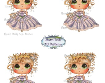 Instant Download DecBKcoloredprintable1 3D Decoupage kit Besties Big Head Dolls Digi By Sherri Baldy