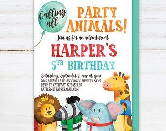 Calling All Party Animals Jungle Safari Cute Animals Birthday Party Invitation, Lion Zebra Elephant Giraffe Birthday Party Printable Invite