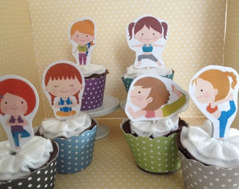 Cute Yoga Party Cupcake Topper Decorations - Set of 10