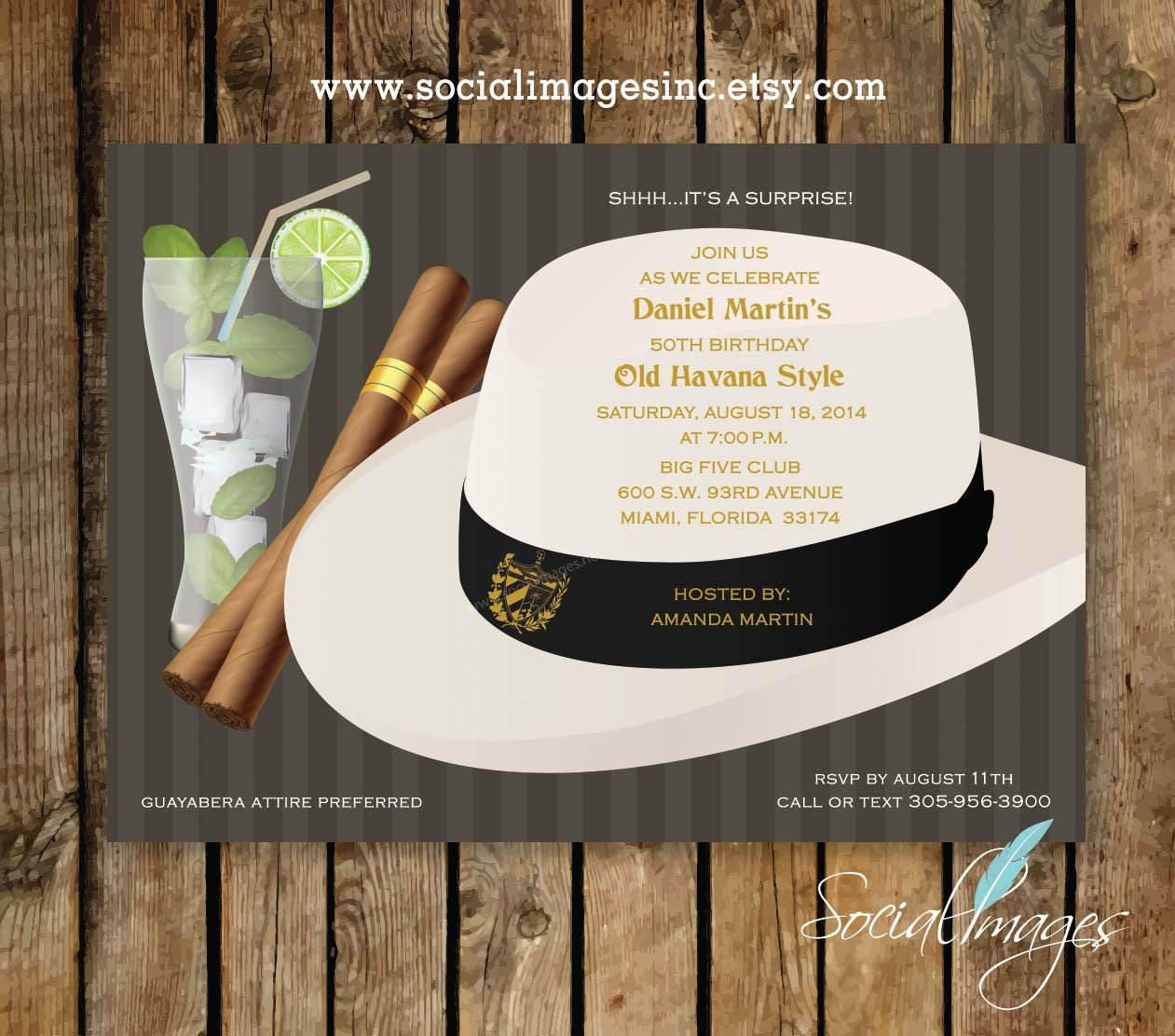 HAVANA NIGHTS Party Invitation Qty 25100 Pricing includes