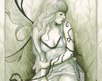 Wild Vines PRINT Fairy Fantasy Art Pale Green Ivy Wings Dress Watercolor Portrait 3 SIZES
