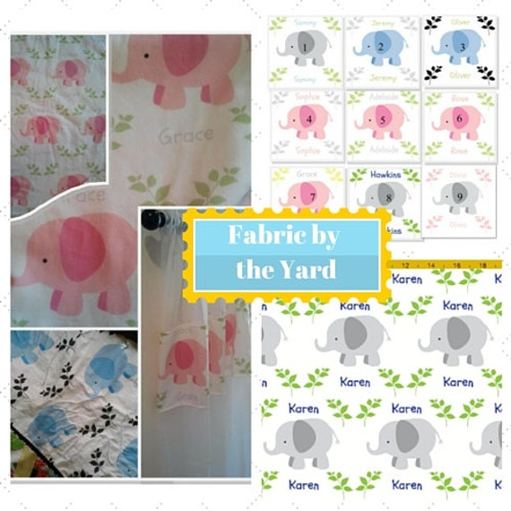 Elephant Fabric by the Yard - LARGE | Cute Baby, Kids Fabric, Upholstery, Quilting, Cotton, Minky, Fleece, Organic Cotton, Can PERSONALIZE