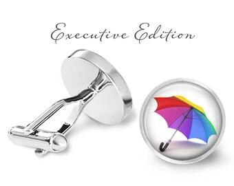 Colorful Umbrella Cufflinks - Umbrella Cuff Links - Beach Umbrella Cuff Links - Rainy Day Umbrella Cufflink (Pair)Lifetime Guarantee (S0536)