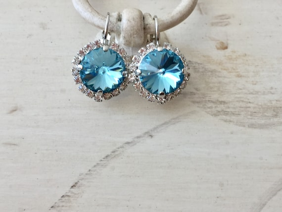Aquamarine Swarovski Crystal Halo Earrings, Silver