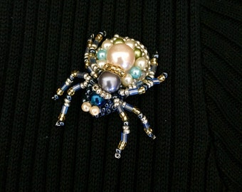 Handmade brooch, Spider , beaded pin, beaded jewelry, birthday gift, gift for her, gift for mom, handmade  jewelry
