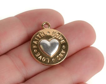 5 Gold Coin Charms, Gold Coin with Silver Heart, FAITH HOPE LOVE, round coin charms, 24x20mm, chs3448