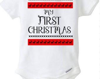 My First Christmas, Ugly Sweater Onesie, Baby onesie, bodysuit