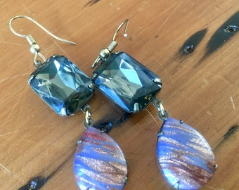 Earrings Smokey topaz vintage czech glass rhinestones and japanese glass drops