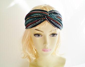Tribal Headband, Tribal Twist Headband, Black Turquoise Red Tribal Headband, Turquoise Boho Headband, Black Blue Afican Headband