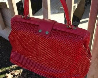 Vintage Red magnetic mesh purse