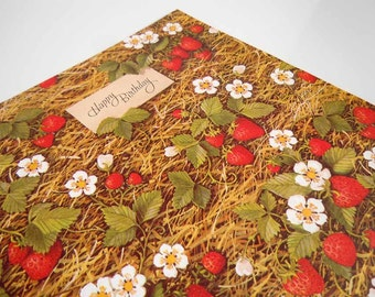 Vintage 1970's Birthday Wrapping Paper Red Strawberries Strawberry Gift Wrap
