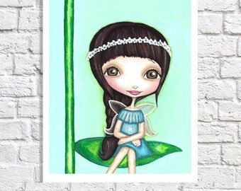 Little Girl Room Decor Pretty Fairy Print Cute Big Eyed Art Fantasy Artwork Tween Wall Art Woodland Fairy Nursery Poster Pictures For Baby