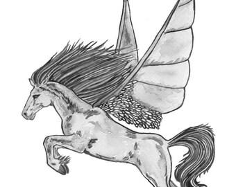 Ltd Edition - A5,A4 & A3 Giclee Print - Original Artwork - Winged Horse