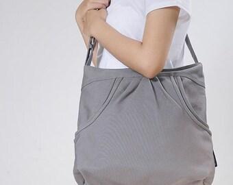 Mother s Day Big Sale FERN / Grey / Lined with Beige / Ship in 7 days // Diaper bag / Shoulder bag / Tote bag / Purse / Gym bag / New mom
