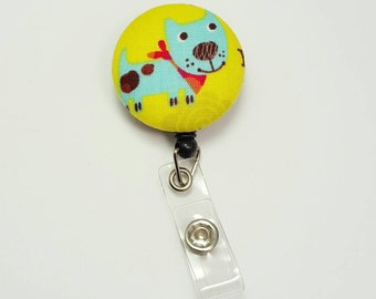Retactable ID Badge Reel / ID Badge Holder / Name Badge Clip / Badge Pull / Button Badge Holder - Fun Dog on Yellow