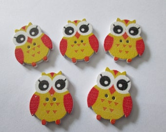 5 yellow color 25 x 20 mm wooden OWL buttons
