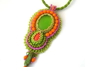 Colorful necklace, Bead embroidered pendant , Green orange, Bohemian necklace, Beaded jewelry, Gift for women