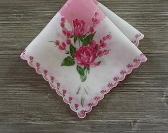 Vintage Handkerchief, Pink Roses, Floral Hankie, Pink Hankerchief, RoseAnaDana