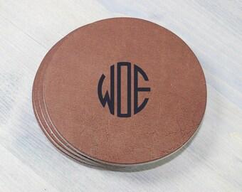 Custom Monogram Leather Coasters 4 Pack