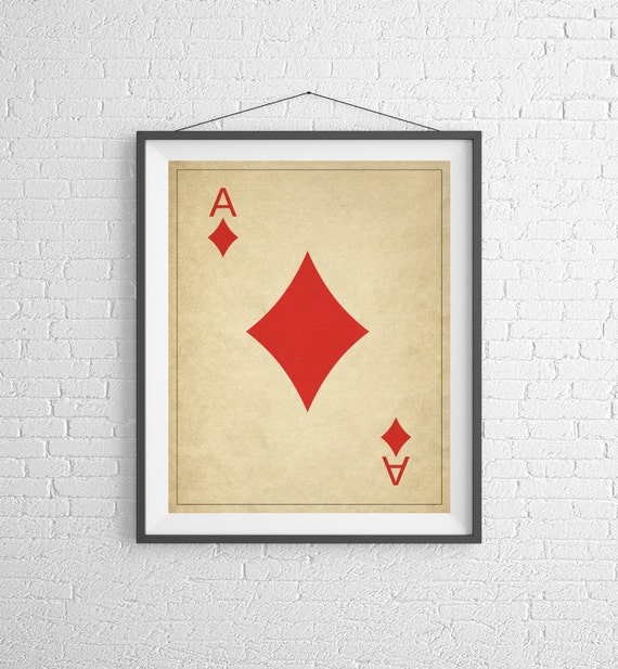 Ace of Diamonds Playing Card Art Game Room Decor Game Room