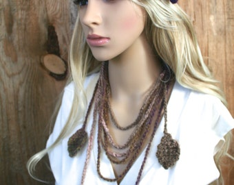 Boho Angora Nuno Felted Headband, Flower Clip and Leaf Lariat Set- Versatile Accessory- Pink, Purple, Brown