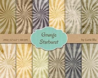 "Starburst Digital Paper: ""Grunge Starburst"" grunge digital paper, starburst backgrounds, sunburst digital paper, distressed digital paper"