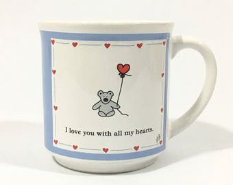 Vintage Boynton Bear with Balloon Mug, 'I Love You with All My Hearts' Coffee Cup, Recycled Paper Products Made in Japan