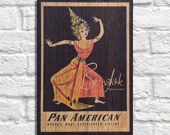 Bangkok Vintage Travel Poster Wood wall art Travel Gift for Men gift for Boyfriend gift for Girlfriend gift for him Panel effect Wood Print