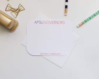 Personalized Stationery, APSU Stationery, Collegiate Stationery, College Stationery, Custom Stationery, Flat Notecards