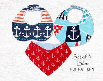 Bandana Bib Pattern, Baby Bib Pattern, Bib Patterns, PDF sewing pattern, baby sewing pattern, bib pattern, Bib Sewing Pattern, DROOL BIBS