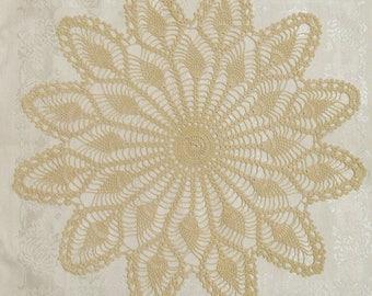 Vintage Hand Crocheted Beige Doily