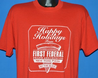 90s Happy Holidays First Federal Pizza t-shirt Large