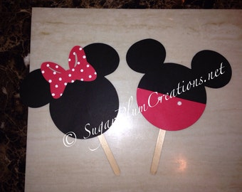 Two Minnie Mouse or Mickey Mouse die cut 5.50""