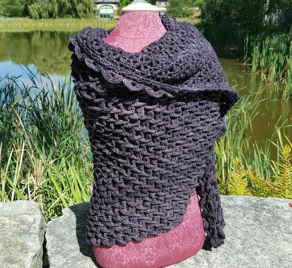 Custom hand crocheted crocodile stitch triangle shawl wrap