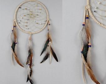 Traditional Dream Catcher, Beige Dreamcatcher, Rustic Dream Catcher, Native Style Dream Catcher