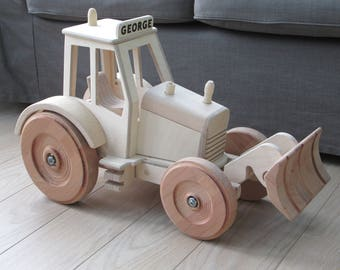 Giant wood toy tractor