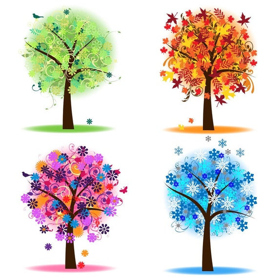 four seasons trees clipart clip art spring summer winter fall rh etsy com seasonal clip art season clipart