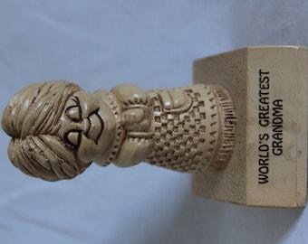 """Vintage 1972 Paula Figurine - """"World's Greatest Grandma"""" - W-246"""
