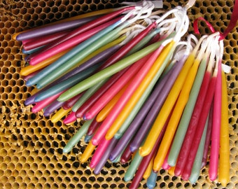 Birthday Candles, Beeswax  Candles,  60 Hand Dipped Birthday Candles, Honey ScentedTapers, Coloured Beeswax Candle