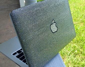 Custom MacBook Pro Case, covered with Swarovski Crystals in Black Diamond Bling