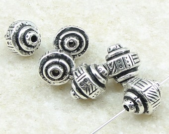 Antique Silver Beads TierraCast Ethnic Barrel Beads Silver Jewelry Beads - 9mm x 7mm - 6 or more pieces - (P2470)