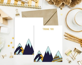 Navy, Mint & Mustard Mountain Thank You Cards. Baby Shower Thank You Cards. Mountain Thank You Cards. Rustic Mountain Thank You. Thank You.