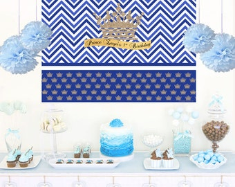 Litte Prince Personalized Backdrop, Birthday Cake Table Backdrop- Welcome Prince, Gold Crown Backdrop, Royal Blue Prince,