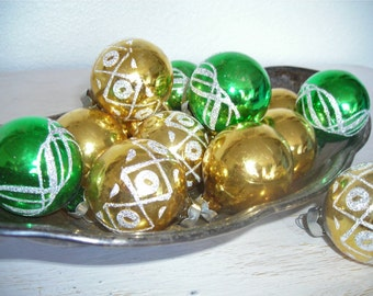 green and gold Christmas ornaments - vintage glittered glass balls - shabby cottage chic glitter designs- ornate hollywood regency