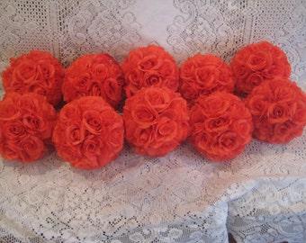 """Set of 10 Coral Silk Rose Pomander...... Size 6"""""""