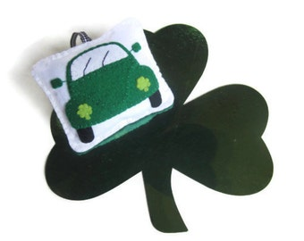 St Patrick's Day VW Beetle Dark Green Hanging Ornament, Plush Pin Cushion, Gift for Beetle Lovers