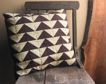 I'll Fly Away - Brown and Beige Flying Geese Handquilted Throw Pillow