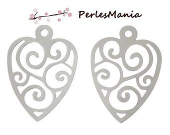 20 prints round FILIGREE heart 28mm in steel stainless S00800